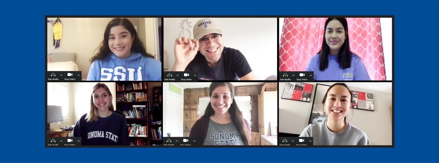 A group of intersession students from different locations on a Zoom call